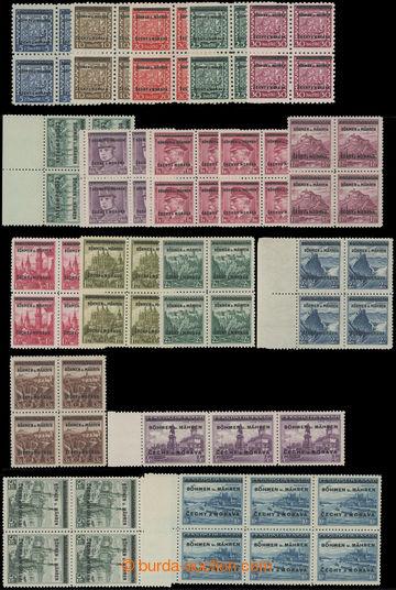 205160 - 1939 Pof.1-5+7-19, téměř kompletní série, 4-bloky, Poděbrady