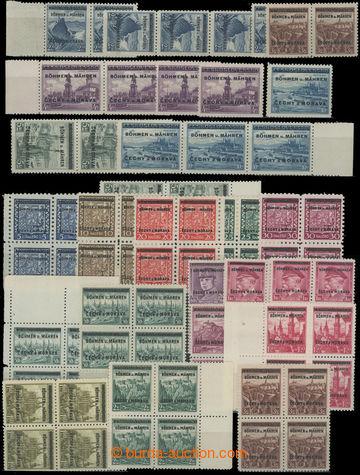 205169 - 1939 Pof.1-19, partie především pásek či 4-bloků přetiskové