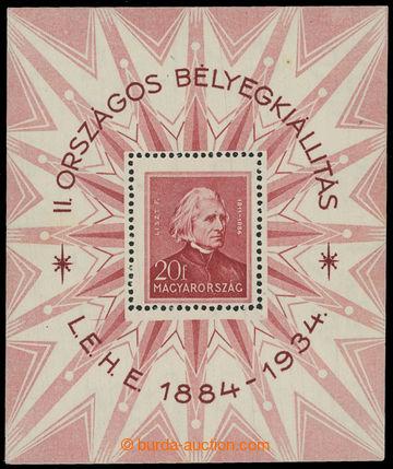205309 - 1934 Mi.Bl.1, aršík Filatelistická výstava Budapešť; luxusní