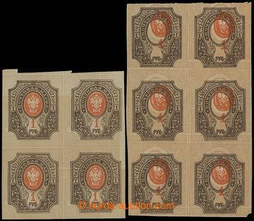 205856 - 1910 Mi.77Bxb, Znak 1R 4-blok a 6-blok, DVOJITÝ PODTISK a DV