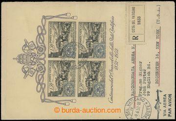 206014 - 1952 R+Let-dopis do USA s Sass.151a, Bl.1, známka 50L + arší