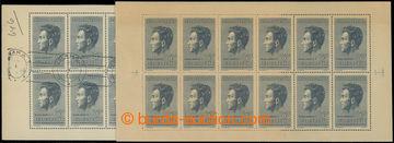 206511 - 1951 Pof.PL574, Fučík 5Kčs modrošedá, 12-blok; zažloutnutí p