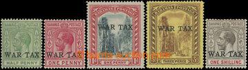 206576 - 1918 SG.91-95, Jiří V. WAR TAX 1P - 1Sh; kompletní série, ka