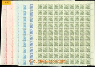 206607 - 1941 Pof.57-61, Krajinky, hrady, města, III. vydání, malé fo