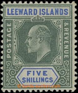 206648 - 1902 SG.28, Edvard VII. 5Sh zelená / modrá, průsvitka Koruna