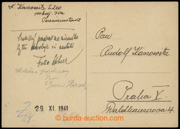 206651 - 1941 GHETTO TEREZÍN - PROTEKTORÁT / dopisnice bez frankatury