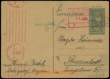 206722 - 1944 MAĎARSKO - GHETTO TEREZÍN / POŠTOVNÍ EVIDENCE  maďarská