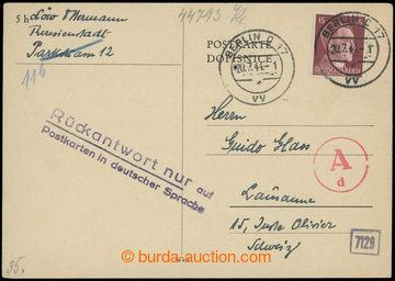 206723 - 1944 GHETTO TEREZÍN - ŠVÝCARSKO / dopisnice adresovaná do Šv