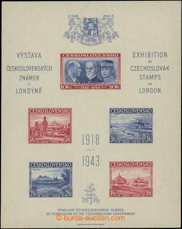206758 - 1943 AS1B, Londýnský aršík, NEZOUBKOVANÝ, správný rozměr 120