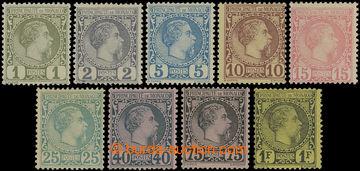 206794 - 1885 Mi.1-9, Karel III. 1C - 1Fr; bezvadné, kat. 2.415€