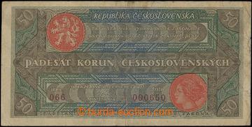 206905 - 1922 Ba.19b, 50Kč Rozsévač, série 066, číslo 000650; bez nat
