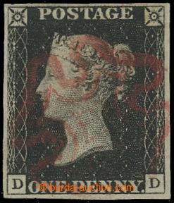 206945 - 1840 SG.2, Penny Black černá, písmena D-D; bezvadný kus s ve