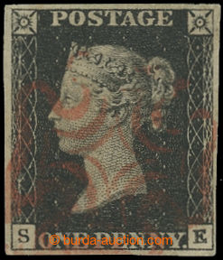206948 - 1840 SG.2, Penny Black černá, písmena S-K; bezvadný kus s pě