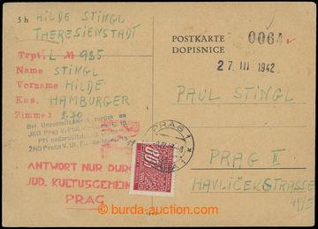 206951 - 1942 GHETTO TEREZÍN - PROTEKTORÁT / dopisnice bez frankatury