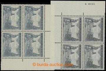 206961 - 1953 Pof.742, Karlův most 5Kčs, levý dolní 4-blok, dotisk z