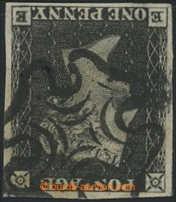 207089 - 1840 SG.2, Penny Black, černá, TD 2, PRŮSVITKA PŘEVRÁCENÁ; k