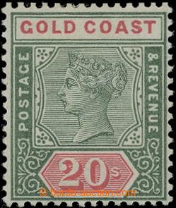 207111 - 1889 SG.24, Viktorie 20Sh zelená / červená; luxusní kus v pů