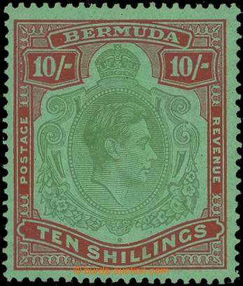 207117 - 1938 BERMUDY  SG.119be, Jiří VI. 10Sh žlutozelená / tmavě ka