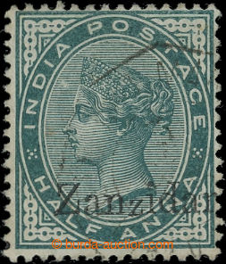 207121 - 1882 SG.3j, Victoria 1/2A green with overprint ZANZIDAR inst