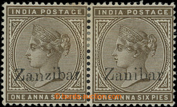 207122 - 1895 SG.5k, pair Victoria 1A6Pies with overprint ZANZIBAR, r