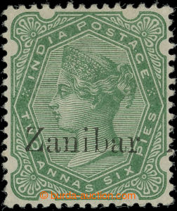 207124 - 1895 SG.8k, Victoria 2A6Pies with overprint ZANIBAR instead