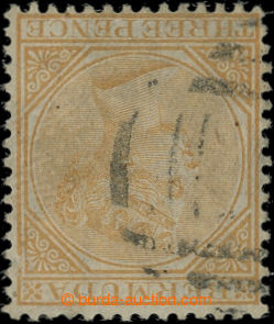 207125 - 1865 SG.5aw, Victoria 3P yellow - buff, wmk CC INVERTED; ver