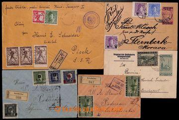 207315 - 1919 sestava 5 celistvostí z toho 3x R-dopis, 4x zasláno do