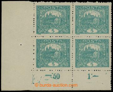 207379 -  Pof.4A STs, 5h modrozelená, levý dolní rohový 4-blok s poči