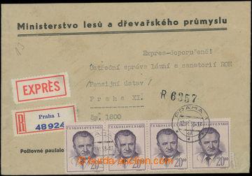 207497 - 1953 POŠTOVNÉ PAUŠALOVÁNO / Ex+R-dopis v místní přepr