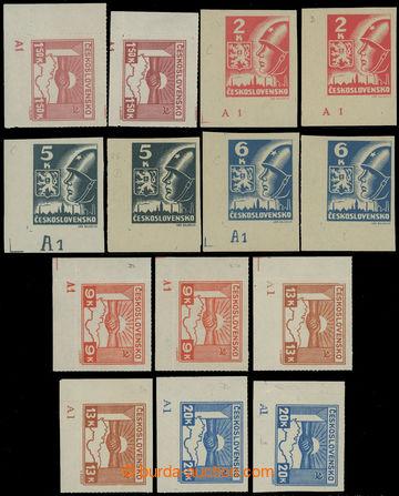 207576 -  Pof.353-359, kompletní série dolních levých rohových zn. s