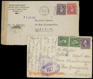 207578 - 1918 FRANCIE / sestava 2ks celistvostí zaslaných z USA do Fr