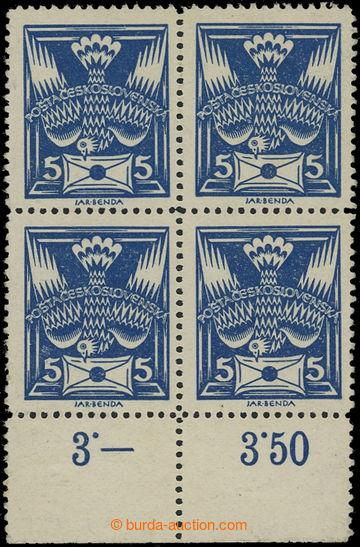 207579 -  Pof.143B, hodnota 5h modrá, 4-blok s dolním okrajem s počít