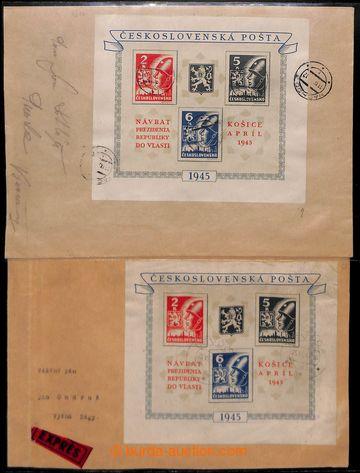 207591 - 1945 sestava 2ks dopisů vyfr. Košickým aršíkem: 1x Ex-dopis
