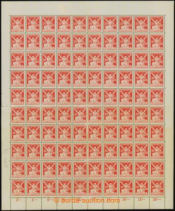 207629 -  Pof.151A, 20h červená, kompletní 100ks arch, DZ přerušená p