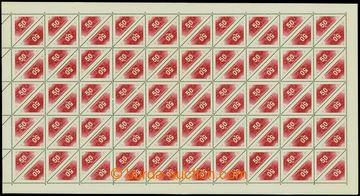 207638 - 1937 Pof.DR2C, Doruční 50h červená, kompletní 100ks arch s H