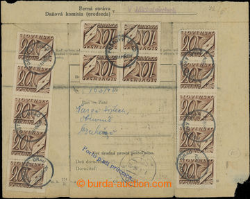 207680 - 1946 formulář berní správy v Michalovcích s frankaturou dopl