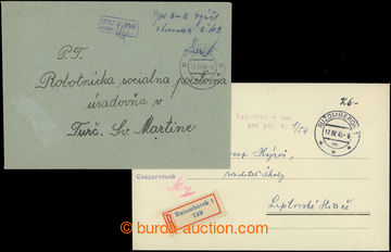 207684 - 1945 VYPLACENO CASH / comp. of 2 letters, 1x commercial Reg