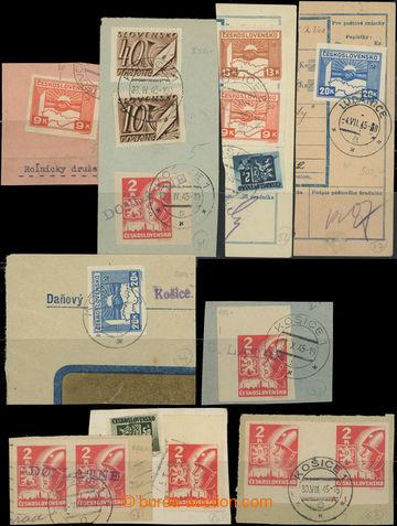 207740 - 1945 sestava 25ks výstřižků, jednotlivé hodnoty samostatně i