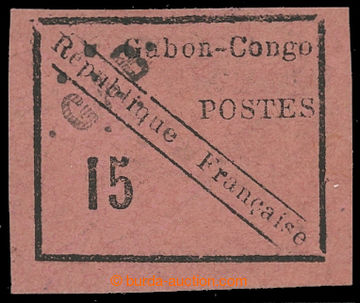 207868 - 1889 Mi.14, Maury 14, Scott 14, Gabon- Congo 15C černá na rů