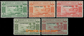 207872 - 1938 SG.FD65-FD69, 5C-1Fr s přetiskem CHIFFRE TAXE; kompletn