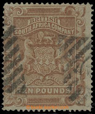 207882 - 1892 SG.13, Znak £10 hnědá, poštovní mřížové číselné ra