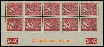 207908 - 1939 Pof.DL3, 20h červená, dolní 10-pás s okraji a DČ 3A-40,