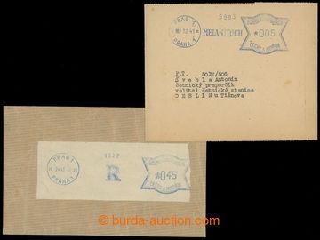 207936 - 1941-942 2ks ústřižků s modrými frankotypy, 1x s firemní R P