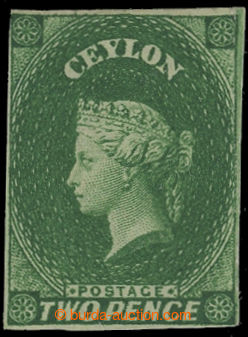 208198 - 1857 SG.3, Victoria 2P green, wmk star; small part original