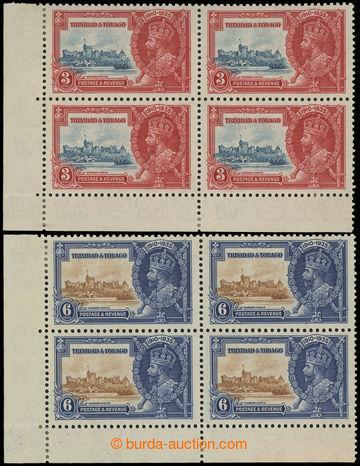 208257 - 1935 SG.240a, 241a, Jubilejní Jiří V. 3P a 6P, rohové 4-blok
