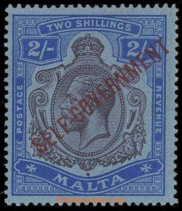 208301 - 1922 MALTA  SG.111b, Jiří V. 2Sh fialová a modrá s přetiskem