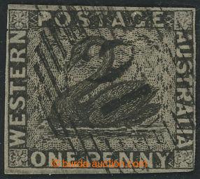 208306 - 1854 SG.1, Black Swan 1P černá, mřížové razítko; kat. £