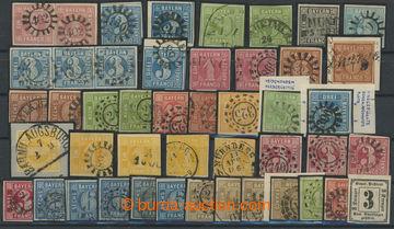 208342 - 1849-1862 partie zn. na kartě A5, číslicová vydání 1849-1862