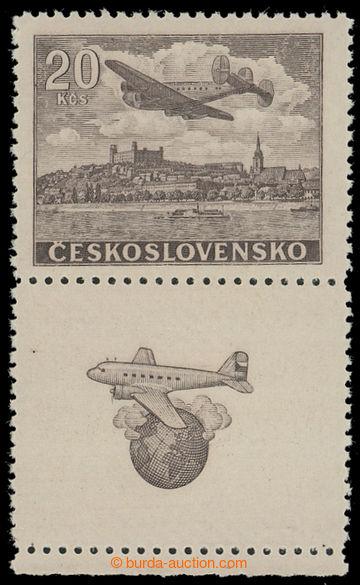 208385 - 1946 Pof.L22N KD, NEVYDANÁ Letecké motivy 20Kčs hnědá s doln