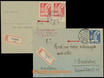 208484 - 1945 sestava 2ks R-dopisů s použitím DR z 1. republiky, 1x v